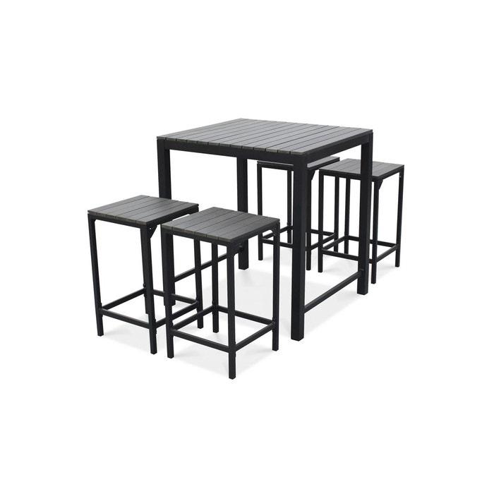 table haute de jardin 4 places aluminium et polywood gris oviala la redoute. Black Bedroom Furniture Sets. Home Design Ideas