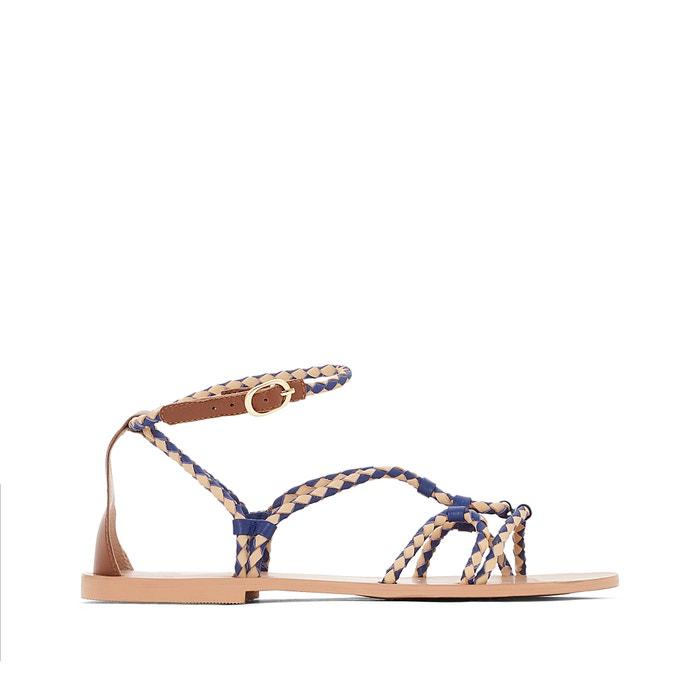 afbeelding Platte leren sandalen met gevlochten detail R studio