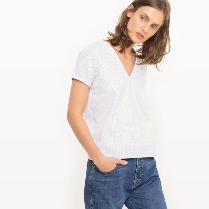 Image T-shirt in jacquard met stippen, V-hals R studio
