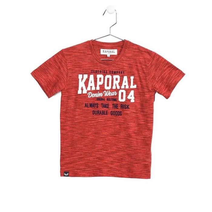 894e352f89a72 Tee-shirt col rond rooky en coton mélangé chiné rouge Kaporal