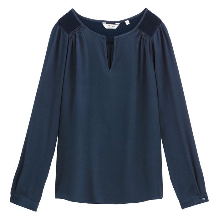 85ade5bac4b769 Draping long-sleeved grandad collar blouse , navy blue, Naf Naf | La Redoute