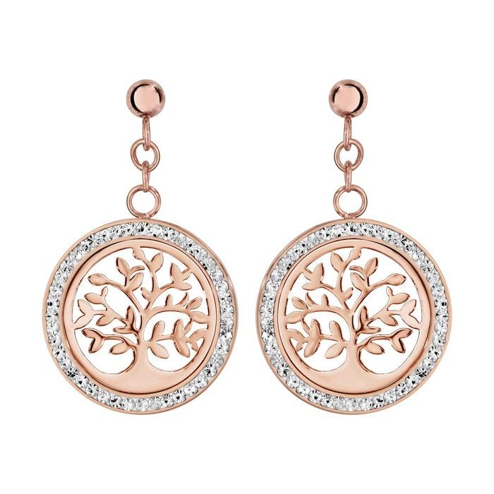 Boucles d'oreilles rose rond motif arbre de vie contour résine strass blanc acier inoxydable couleur unique So Chic Bijoux | La Redoute visite j6XctY