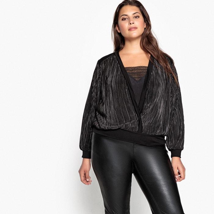 Blusa plissada efeito traçado, detalhe tipo lingerie  CASTALUNA image 0