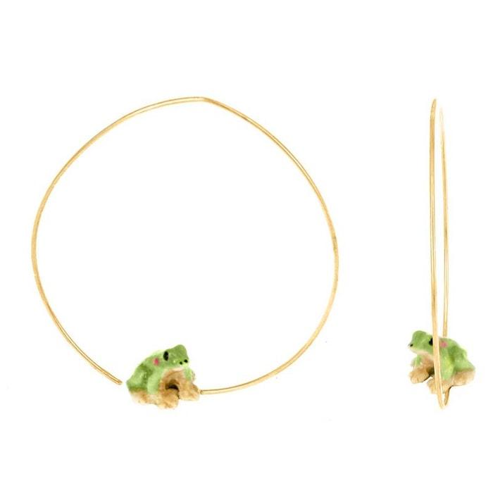 Créoles mini grenouille en porcelaine. vert, blanc, doré Nach Bijoux   La Redoute