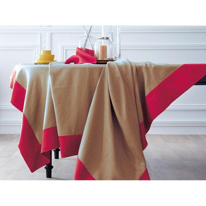 nappe lin d perlant bicolore sable et rouge basque brod e sable rouge basque blanc cerise. Black Bedroom Furniture Sets. Home Design Ideas