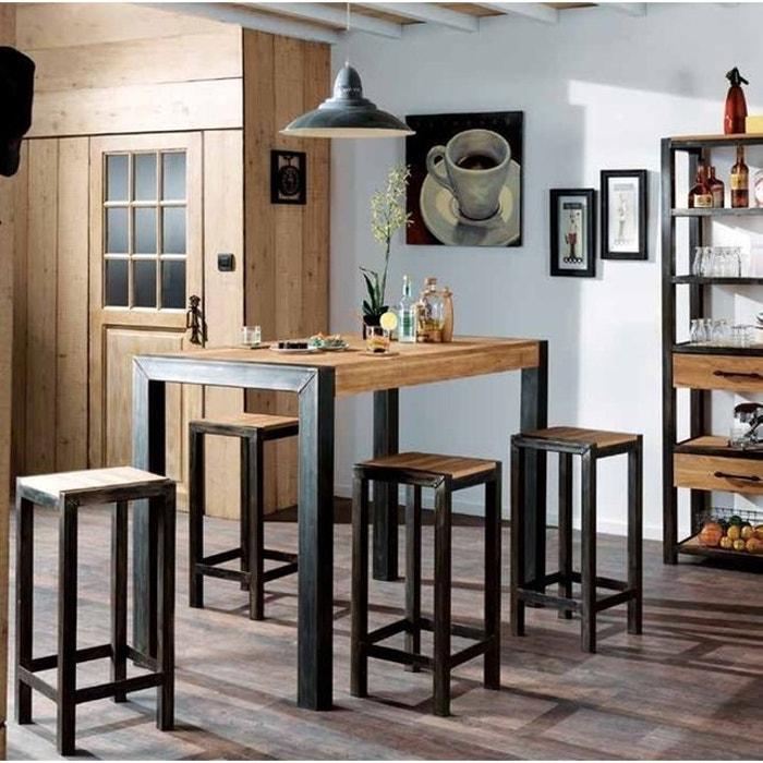 Table Haute Bois Massif.Table Haute Mange Debout Bois De Chene Massif Et Metal Style Industriel 120cm Ferscott