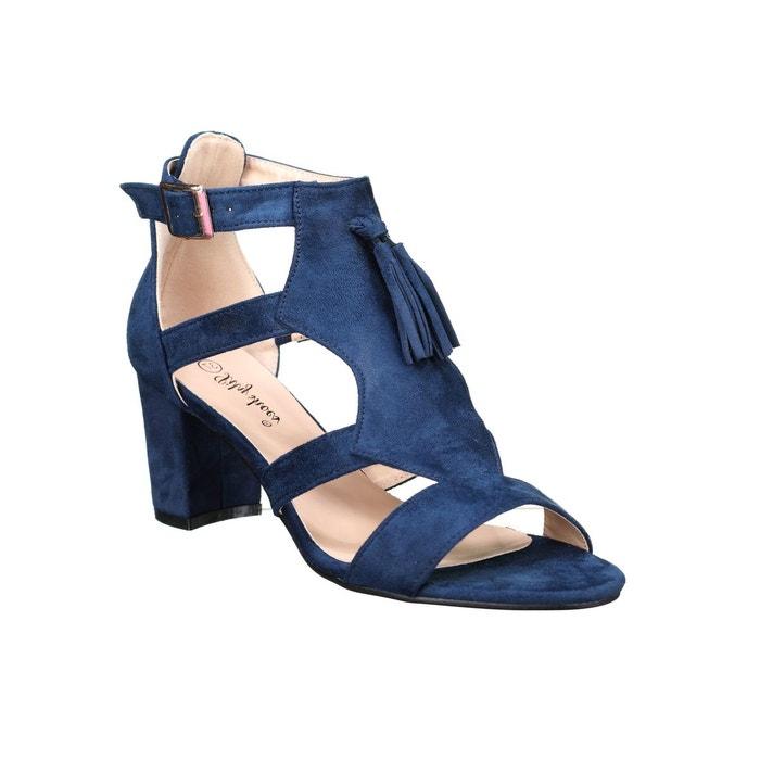 19dfac28577029 Sandales à talons à franges bleu Leader Mode   La Redoute