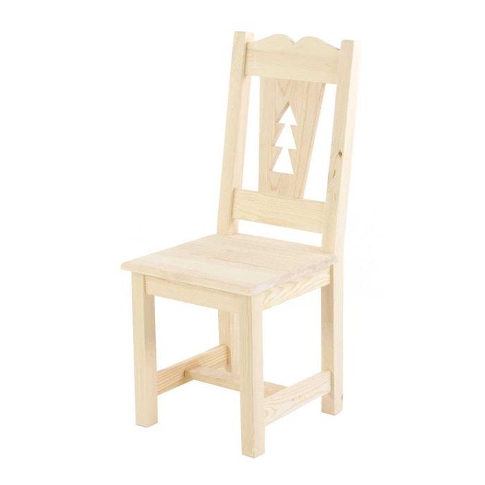 2 x chaise rustique en pin massif brut dcoupe sapin matendance couleurs des alpes image 0 - Chaise Rustique