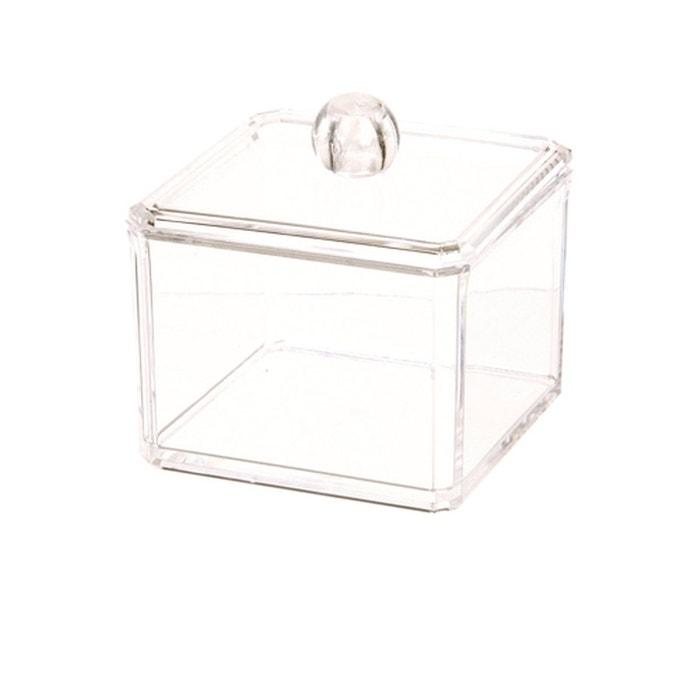 Bo te coton en acrylique transparent transparent instant for Distributeur coton ventouse