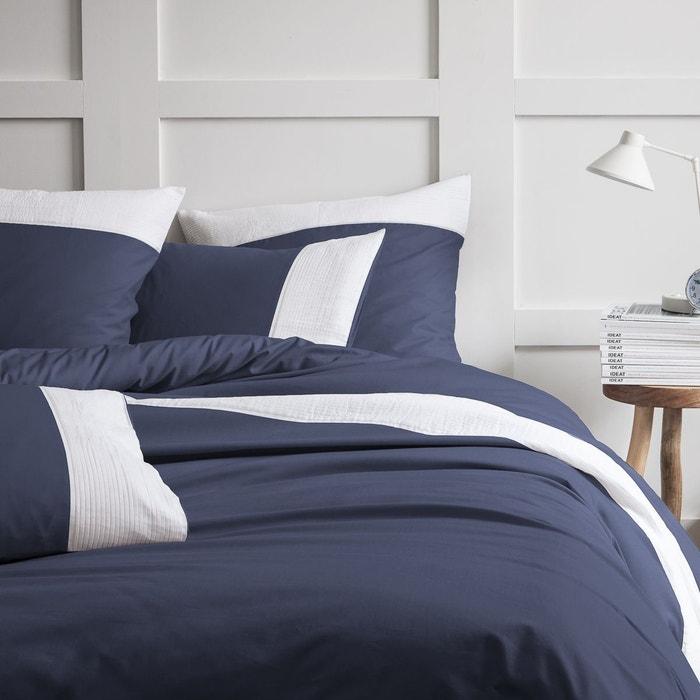 housse de couette pliss e 100 coton bleu nuit matt et rose la redoute. Black Bedroom Furniture Sets. Home Design Ideas