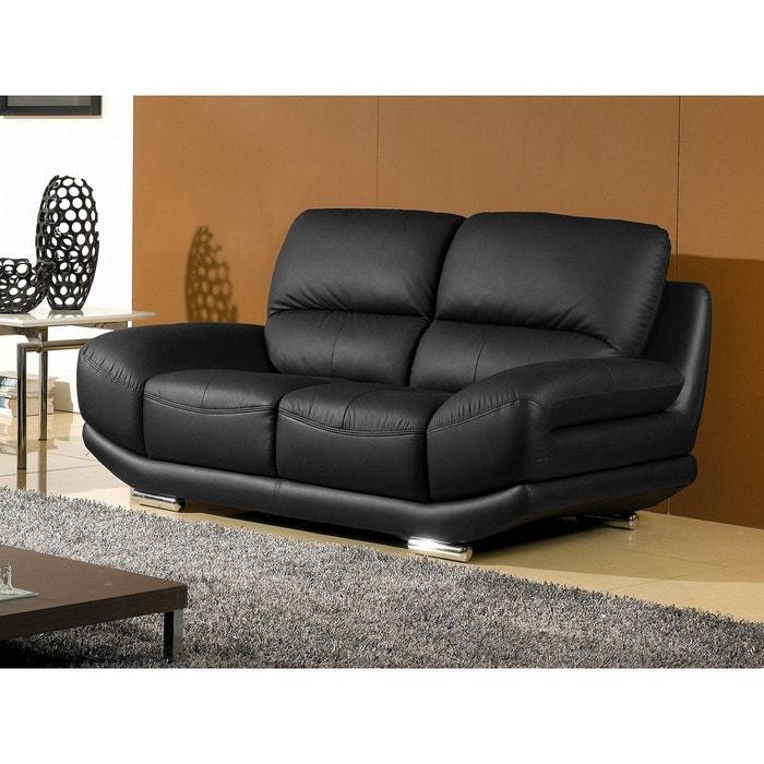 canap cuir 2 places barcelona noir noir la maison du canape la redoute. Black Bedroom Furniture Sets. Home Design Ideas