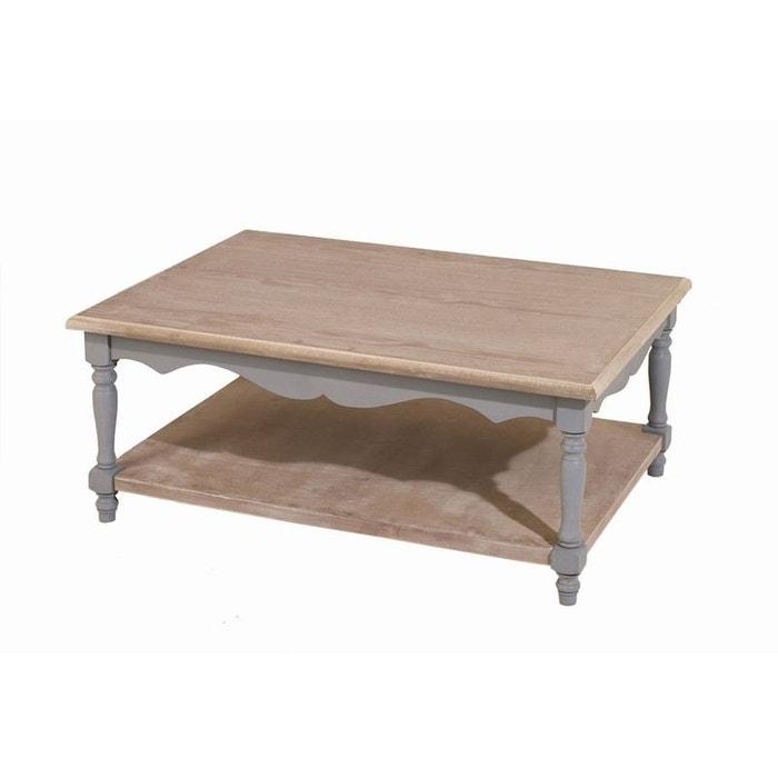 Table basse double plateau 100x70cm calie gris et plateau for Table exterieur la redoute