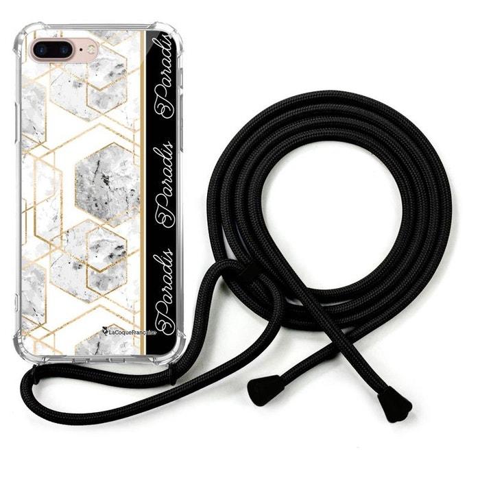 Coque iPhone 7 Plus/ 8 Plus coque avec cordon transparente Marbre Paradis