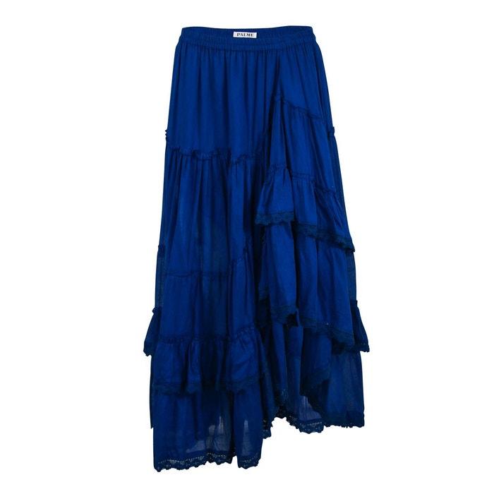 jupe longue coton unie bleu fonc bleu palme la redoute. Black Bedroom Furniture Sets. Home Design Ideas