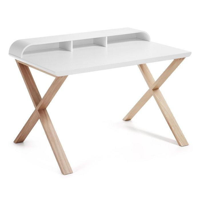 table de bureau working frene et blanc blanc naturel. Black Bedroom Furniture Sets. Home Design Ideas