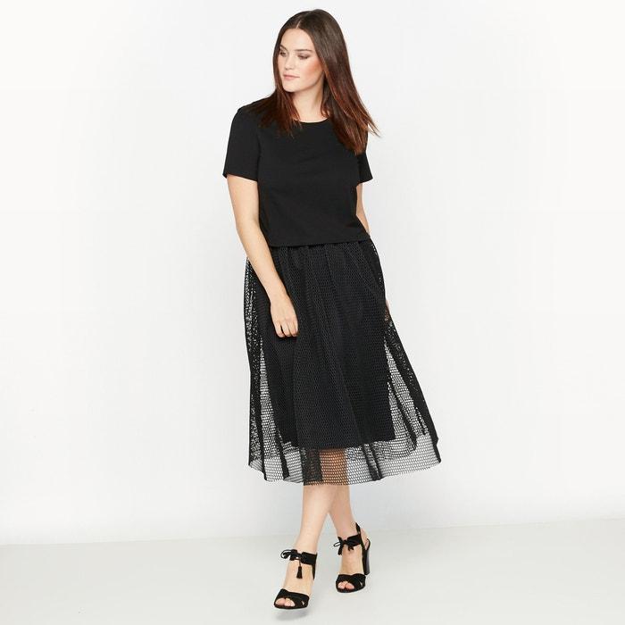 Image Dual-Fabric Overlay Dress CASTALUNA
