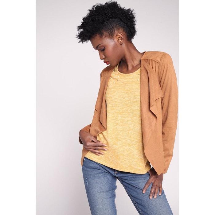 Veste cintrée à pans jaune moutarde femme | Cache Cache