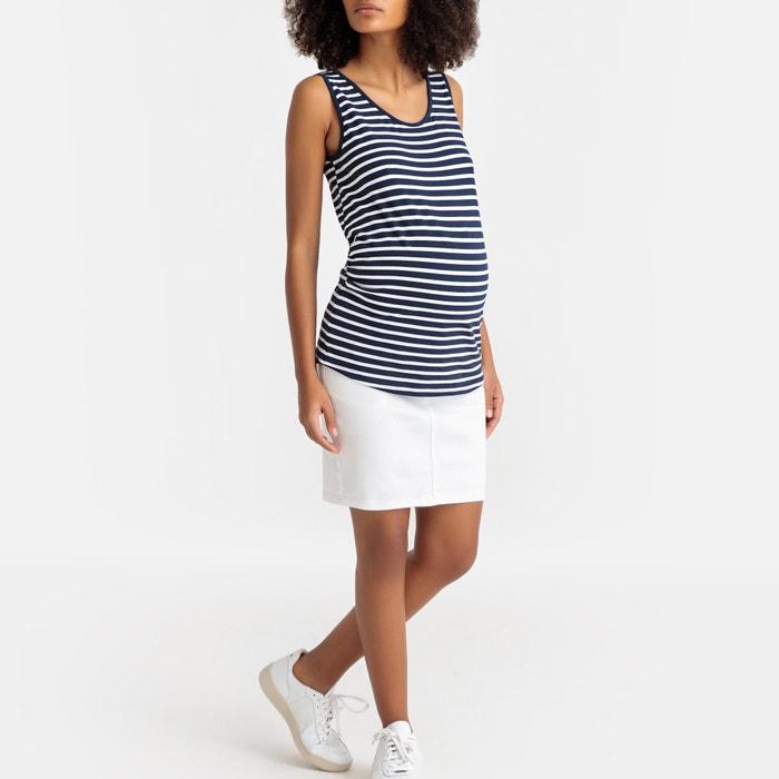 0e83a4096 Lote de camisetas sin mangas para embarazo blanco + rayas azul La ...