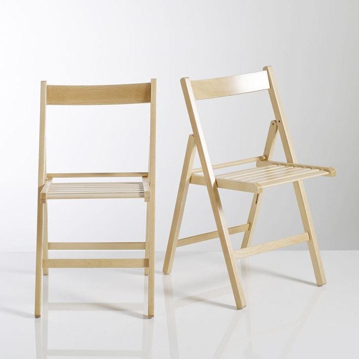 Chaise pliante, hêtre massif, Yann, lot de 2