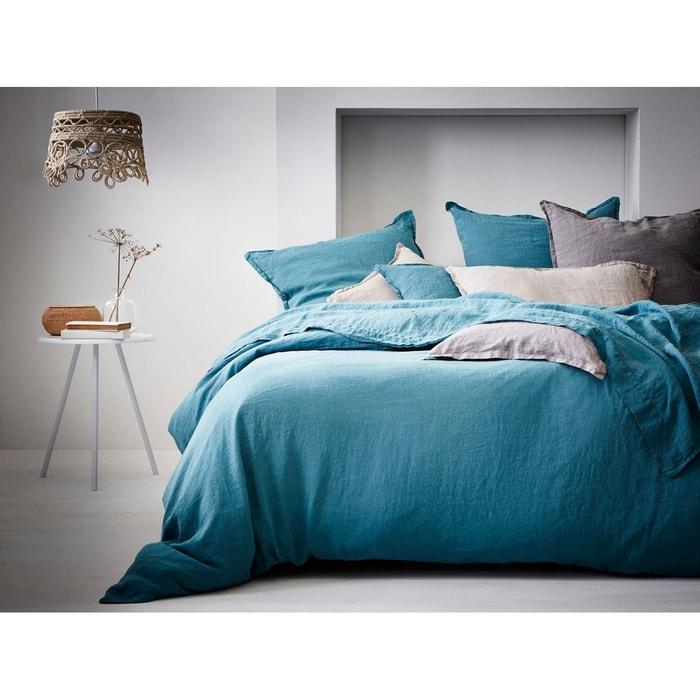 housse de couette lin lav uni couleur lagon lagon blanc cerise la redoute. Black Bedroom Furniture Sets. Home Design Ideas