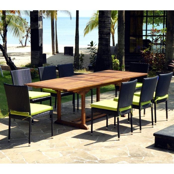 Salon de jardin en teck huile et résine tressée table 180-240 cm + 8 ...