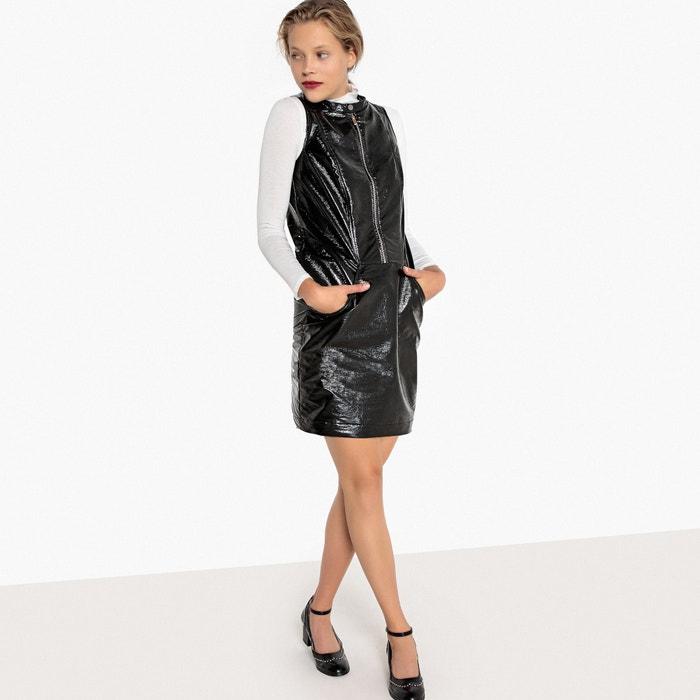 Платье короткое с блестящим эффектом и застежкой на молнию спереди