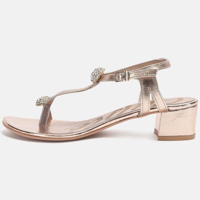 Sandales en cuir et strass  doré Cuple  La Redoute
