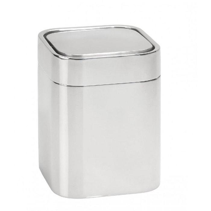 Petite poubelle de salle de bain en inox brillant carr - Accessoires salle de bain design inox ...