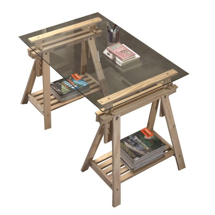 bureau tr teaux inclinable avec plateau verre transparent. Black Bedroom Furniture Sets. Home Design Ideas