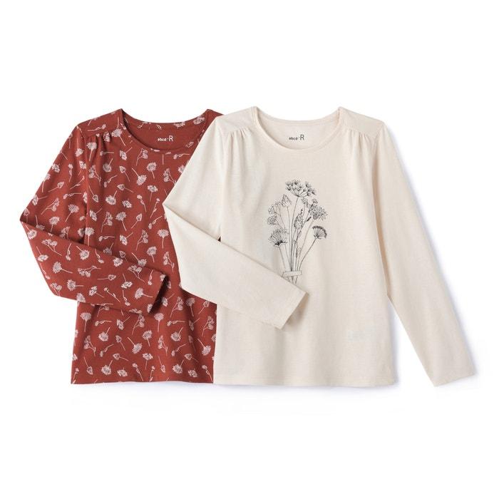 afbeelding Bedrukt T-shirt met lange mouwen 3-12 jr (set van 2) La Redoute Collections