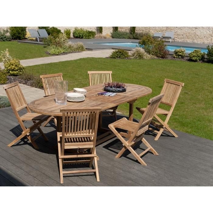 Salon de jardin table d\'extérieur extensible ovale 180x100cm 4 chaises  pliantes en bois de teck SUMMER