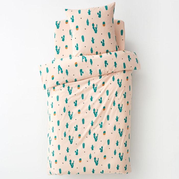 housse de couette pur coton cactus rose vert la redoute. Black Bedroom Furniture Sets. Home Design Ideas