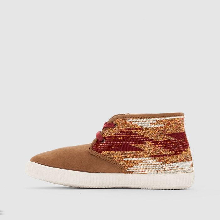 Baskets montantes safari flecos antelina beige / rouge Victoria