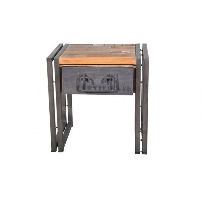 Table de chevet bout de canap bois recycl 1 tiroir for Bout de canape la redoute