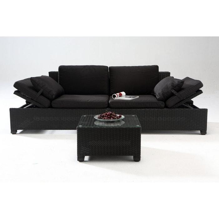 Salon de jardin corfou r sine tress e noir noir couleur - La redoute table de jardin en resine tressee ...