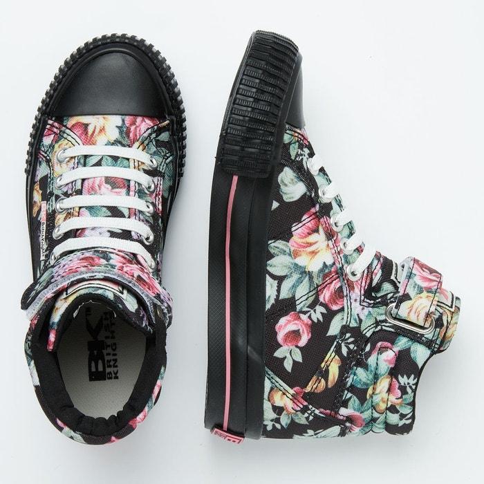 Dee filles baskets montante noir fleur rose British Knights