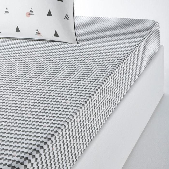 drap housse pur coton digna kaki imprim kaki rose la redoute interieurs la redoute. Black Bedroom Furniture Sets. Home Design Ideas