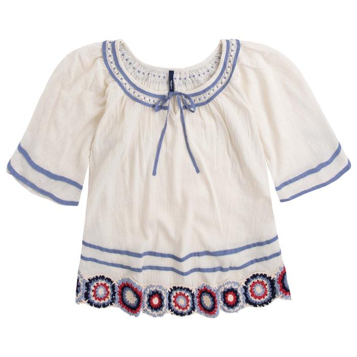 Embroidered Cotton Peasant Blouse Ecru Pepe Jeans La Redoute