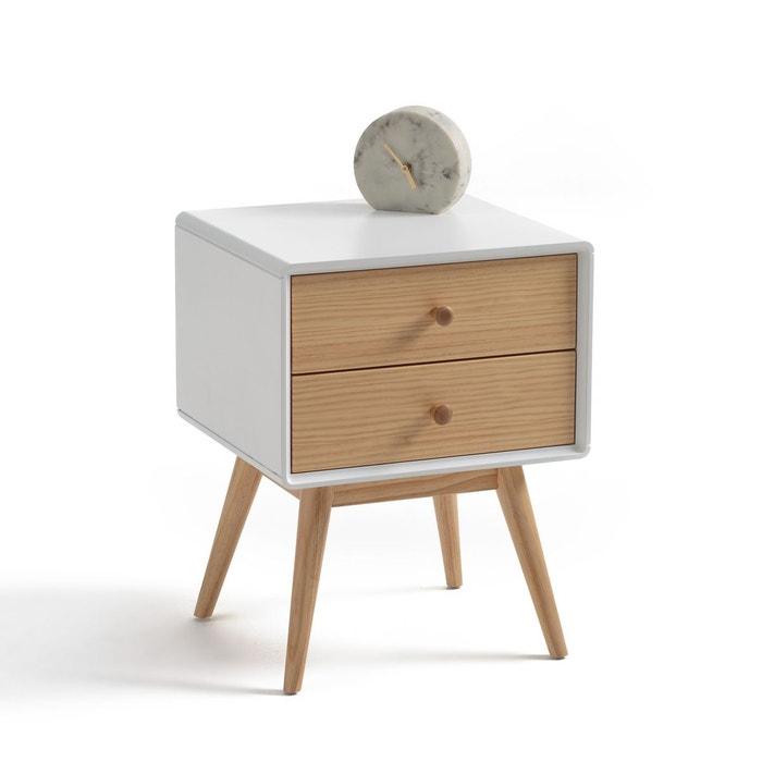 chevet 2 tiroirs jimi blanc bois la redoute interieurs. Black Bedroom Furniture Sets. Home Design Ideas
