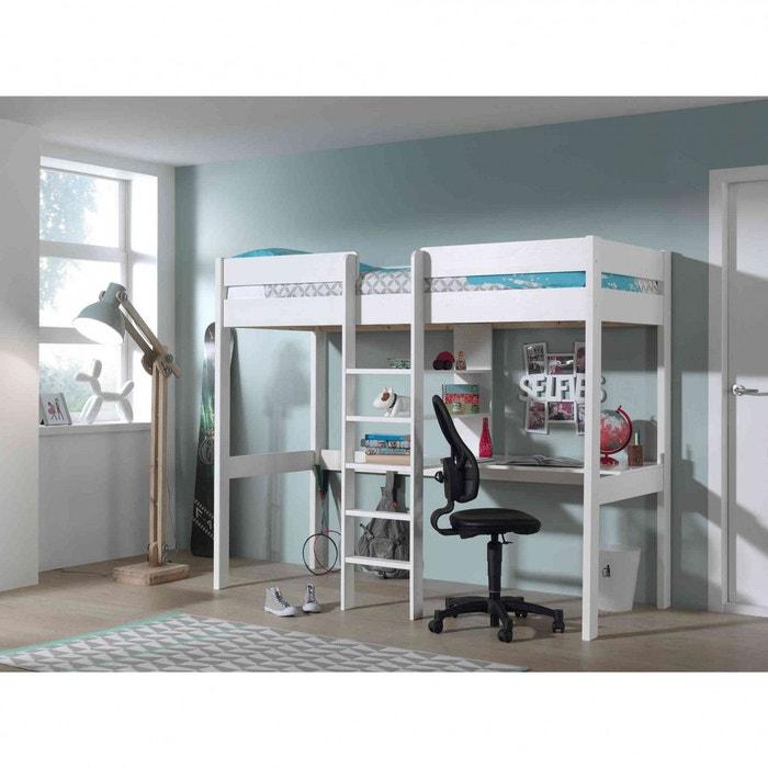 lit mezzanine blanc chelle centrale blanc terre de nuit. Black Bedroom Furniture Sets. Home Design Ideas