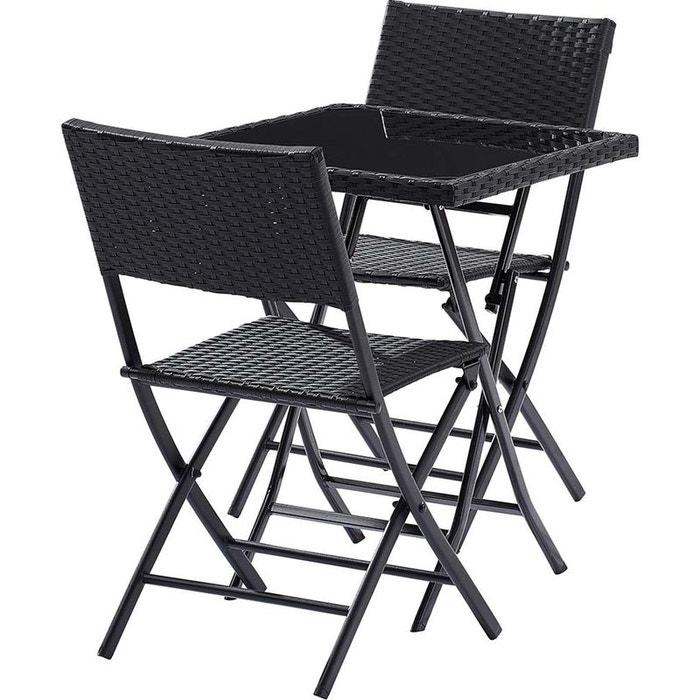 Table jardin et chaises 2 personnes kiosque noir wilsa for La redoute meuble jardin
