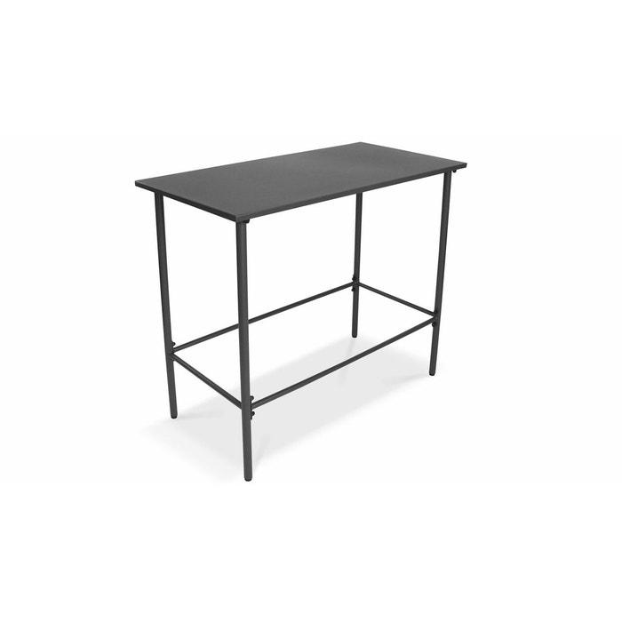 Table de jardin haute en acier thermolaqué gris, Palavas