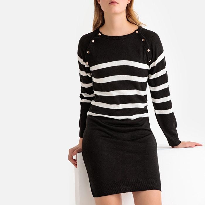 62a6d3bc56bb Vestido-camisola em tricot às riscas, gola redonda LA REDOUTE COLLECTIONS  image 0