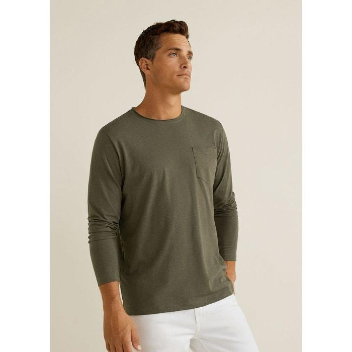 39d48bab1e188 T-shirt coton bio kaki Mango Man   La Redoute