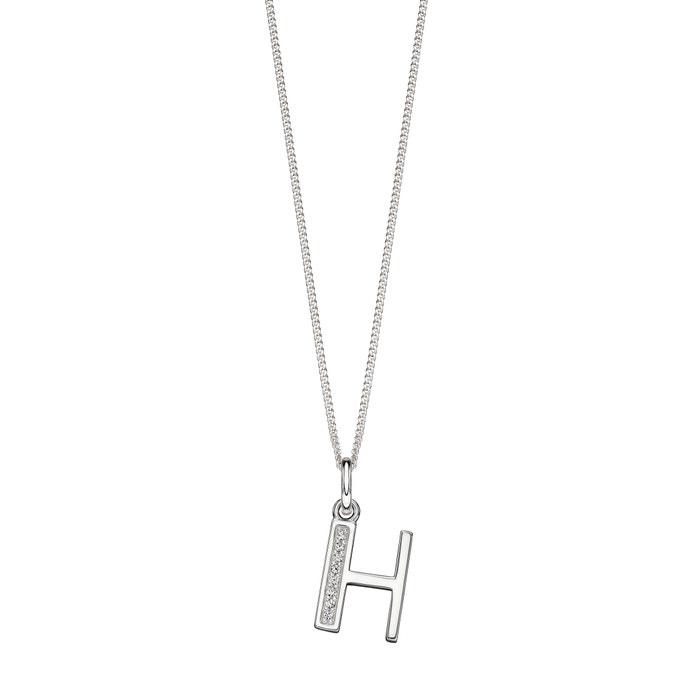 New Art Deco CZ Crystal Pendant Silver Necklace