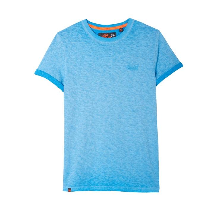 redondo manga estampado delante corta con Camiseta con y SUPERDRY cuello qXt8g1