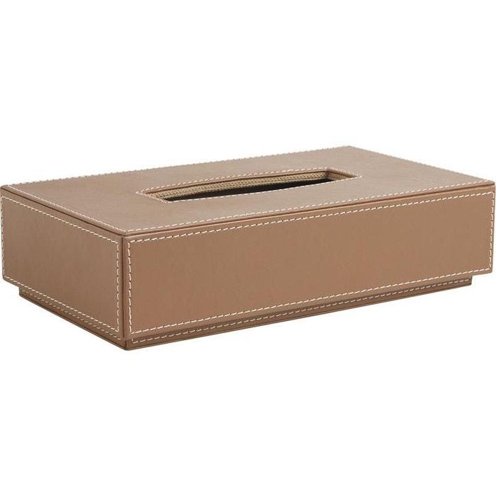 Boite mouchoirs en simili cuir classique marron aubry for La redoute boite a couture