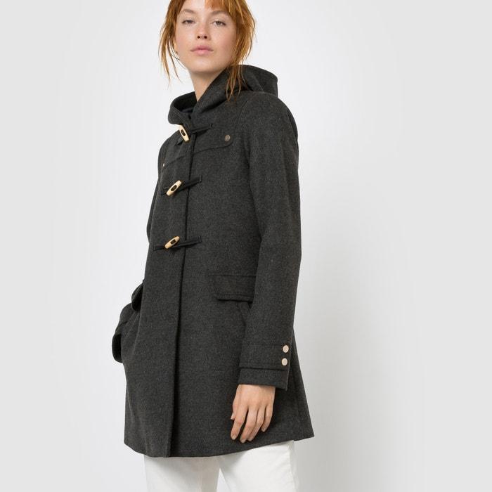 Hooded wool mix duffle coat charcoal Mademoiselle R | La Redoute
