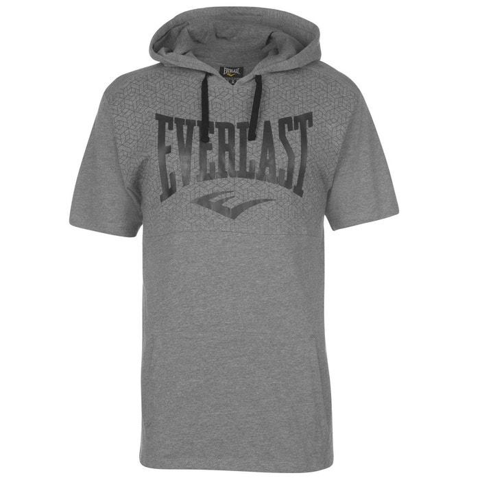 T-shirt à capuche manche courte gris chiné