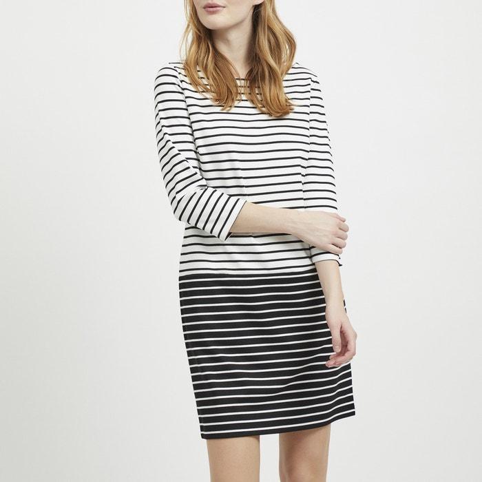 945d501edd2275 Gestreepte rechte jurk met lange mouwen